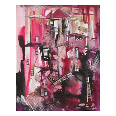 """Old Town, Abstract Painting, Original Art, 8""""x10"""""""