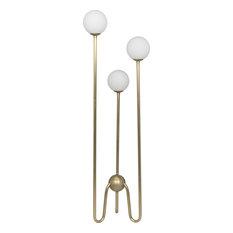 Noir Seafield Floor Lamp, Antique Brass, Metal and Glass