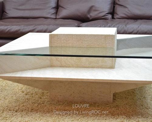Table basse en marbre ivoire et verre tremp haut de gamme 100x100x35cm louvre - Verre trempe pour table ...