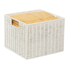 Honey Can Do Parchment Cord Storage Crate, White