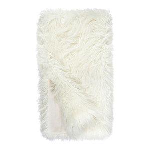 "Signature Faux Fur Throw, Ivory Tibetan, 60""x60"""