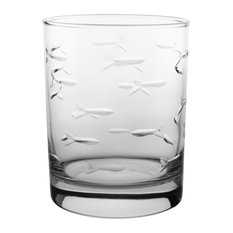 Rolf Glass - School of Fish Glasses Set of 4 - Cocktail Glasses  sc 1 st  Houzz & Vacation Lake House Dinnerware | Houzz
