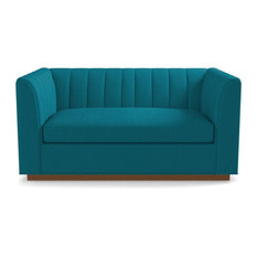 Apt2B   Nora Apartment Size Sleeper Sofa, Memory Foam Mattress, Biloxi Blue    Sectional