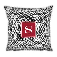 Square Pillow Greek Key Single Initial, Letter E