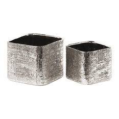 Ceramic Planters, 2-Piece Set, Electroplated Silver