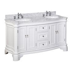 "Katherine Bath Vanity, White, Carrara Marble, Double Vanity, 60"""