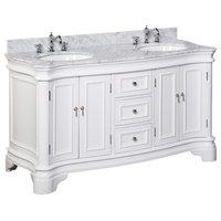 "Katherine 60"" Bath Vanity, Base: White, Top: Carrara Marble, Double Vanity"