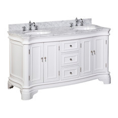 "Kitchen Bath Collection - Katherine Bath Vanity, White, Carrara Marble, Double Vanity, 60"" - Bathroom Vanities and Sink Consoles"