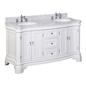 "Katherine 60"" Bath Vanity, Base: White, Top: Carrara Marble, Double Vanity"