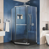 "Prism Shower Enclosure and SlimLine 40""x40"" Shower, Black"