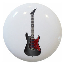 Black and Red Guitar Ceramic Cabinet Drawer Knob