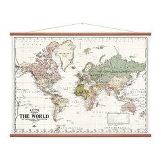 """White World Map"" Wall Hanging, White Background, 100x135 cm"