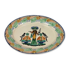 Oval Catrina Majolica Ceramic Plate