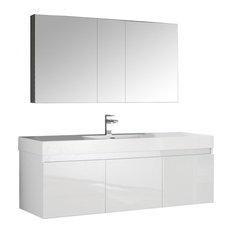 "Fresca Mezzo 60"" White Wall Single Sink Vanity With Medicine Cabinet"