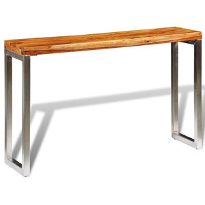VidaXL Solid Sheesham Wood Console Table With Steel Legs