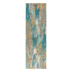 Pop Modern Abstract Vintage Runner Rug, Blue/Brown/Orange, 2'x8'