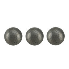 3 Piece Antique Silver Finish Dimpled Metal Decor Ball Set 4 Inch
