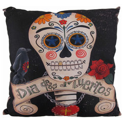 Fresh Contemporary Decorative Pillows Colorful Day of the Dead Sugar Skull and Raven Decorative Throw Pillow in