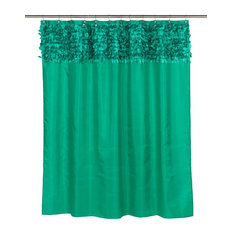 Jasmine Fabric Shower Curtain With Unique Feathered Look Valance, Emerald