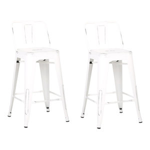 """Distressed Metal Barstool With Back, Set of 2, White, 24"""""""