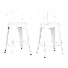 """Metal Bar Stools With Back, Set of 2, Distressed White, 24"""""""