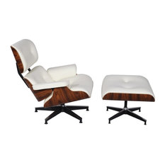 Modern Interiors - Classic Plywood Eames Lounge Chair u0026 Ottoman Real  Leather, White Aniline Leather