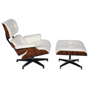 2-Piece Mid-Century Plywood Lounge Chair and Ottoman Set, White/Palisander