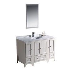 "Fresca Oxford 48"" Antique White Traditional Bathroom Vanity With 2 Side Cabinets"