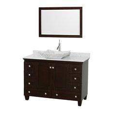 "48"" Acclaim Single Vanity, White Carrera Marble Top, White Carrera Marble Sink"