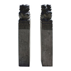 Chinese Black Gray Stone Fengshui Foo Dogs Tall Slim Pole Statues, 2 Piece Set