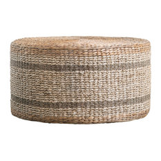 Brown Striped Round Water Hyacinth and Seagrass Ottoman/Table