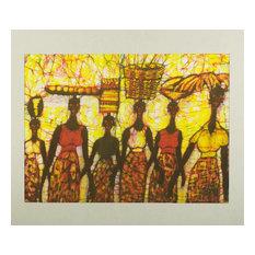 Novica Early Morning Marketgoers Batik Painting