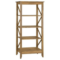 """Jay 31.5"""" Solid Wood Bookcase With 4 Shelves, Nature"""