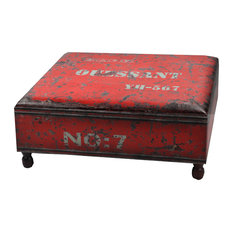 Charming NACH   NACH Faux Leather Industrial Coffee Table, Red   Coffee Tables