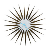 RF Atomic Clock-Walnut White/Blue, Midcentury Modern Wood & Acrylic Wall Clock