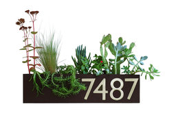 Wall Trough Planter with Address Numbers, Brown