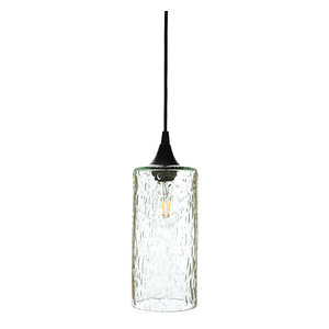 Lunar Pendant No. 515, Clear Glass Shade, Matte Black Hardware