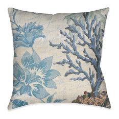 Blue Floral Coral Decorative Pillow