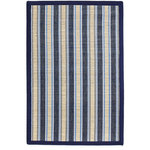 Anji Mountain - Hamptons Surf Bamboo Rug, 7'x10' - Embrace the calm of coastal design with the elegantly striped Hamptons Surf Bamboo Rug. This design features blue, light brown and white stripes with a mitered cotton navy border for a breezy look that's also practical. Densely woven bamboo and cotton thread create a thin, multitextured appearance that won't warp in humid weather and resists wear unlike any other woven floor covering. Made with sustainably sourced moso bamboo, this style brings the light, airy vibe of beach life to your living room, closed porch or dining area. This unique rug features a mix of woven bamboo and cotton elements for the perfect balance of resilience and softness.