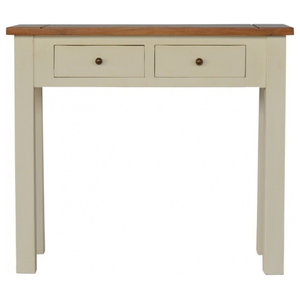 2 Toned Painted Wood Narrow Console Table with 2 Drawers