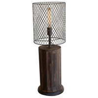 Table Lamp - Recycled Wood - Wire Mesh Shade - Round