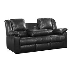 Residence - Finch Recliner Sofa With Drop-Down Console, Black - Sofas