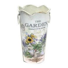 Wavy Edge American Style Retro Flower Barrel Decorative Iron Flower Vase, Purple