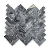 "12""x12.75"" Bardiglio Gray Herringbone Mosaic Tile Polished"
