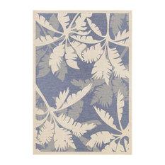 "Couristan Monaco Coastal Floral Indoor/Outdoor Area Rug, Ivory-Sapphire, 3'9""x5'"