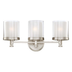 Decker 3 Light - Vanity Fixture With Clear and Frosted Glass