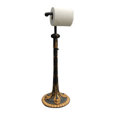 Hickory Manor Standing Acanthus Toilet Paper Holder Gold Leaf And Black