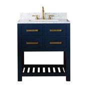 "Madalyn 24"" Monarch Blue Bathroom Vanity With Satin Brass Faucet"
