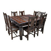 Rustic Square Large Solid Wood Dining Table Chair Set Furniture