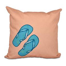 "Flip Flops, Geometric Print Pillow, Coral, 18""x18"""